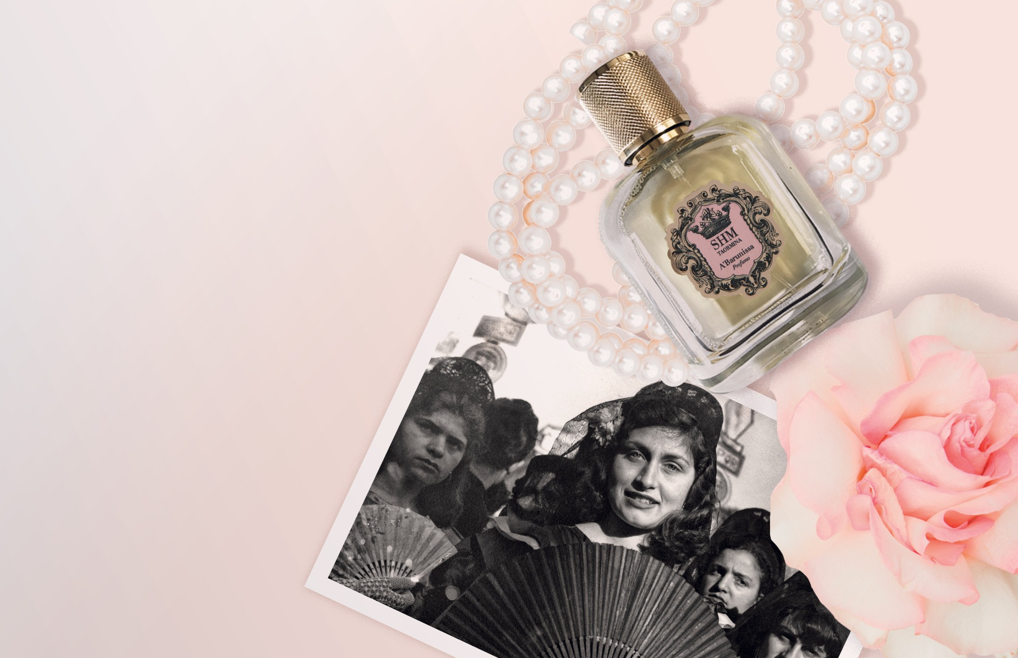 The perfume A'Barunissa, created by Alessandra Catalbiano. It is a tribute to a Sicilian woman with a damask rose and cinnamon scented skin and tick raven hair.