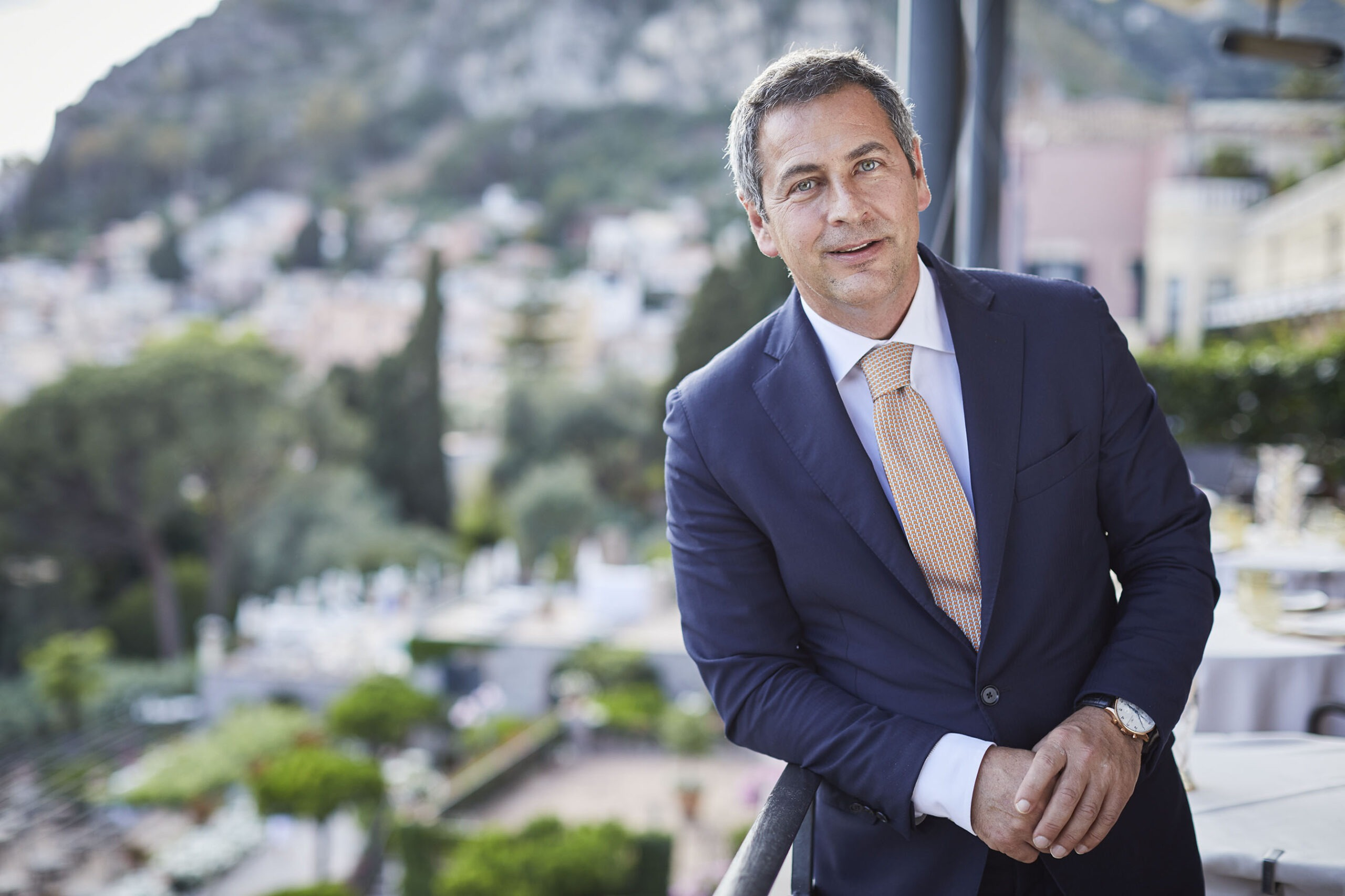 A portrait of Stefano Gegnacorsi, General Manager at the Belmond Grand Hotel Timeo in Taormina